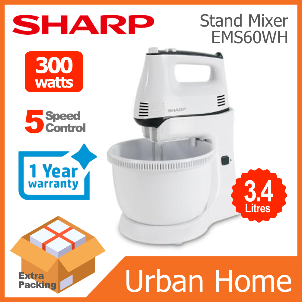 SHARP 3.4L Stand/Hand Mixer (EMS60WH/EM-S60-WH)
