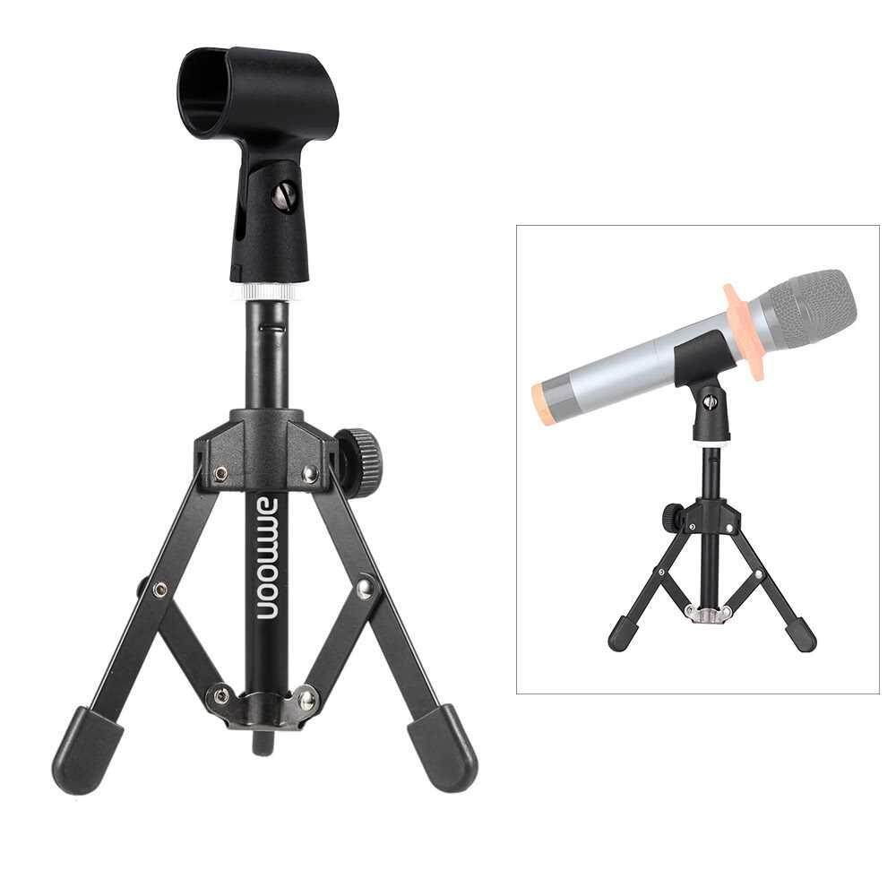 Best Selling ammoon MS-12 Mini Foldable Adjustable Desktop Microphone Stand Tripod with MC5 Mic Clip Holder Bracket for Meeting Lectures Podcasts