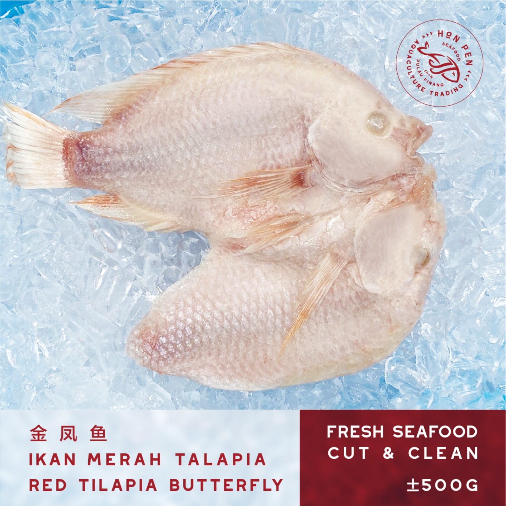 3pcs RED TILAPIA BUTTERFLY 金凤鱼 IKAN MERAH TALAPIA (Seafood) ±500g