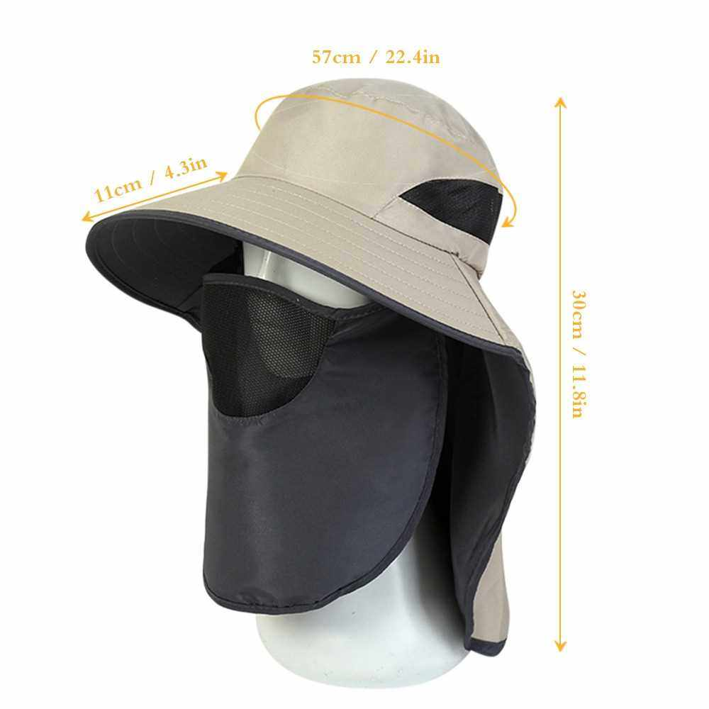UV-Protection Hat Hiking Hat with Removable Mesh Face Neck Flap Cover Fishing Cap for Man Women (Light Grey)