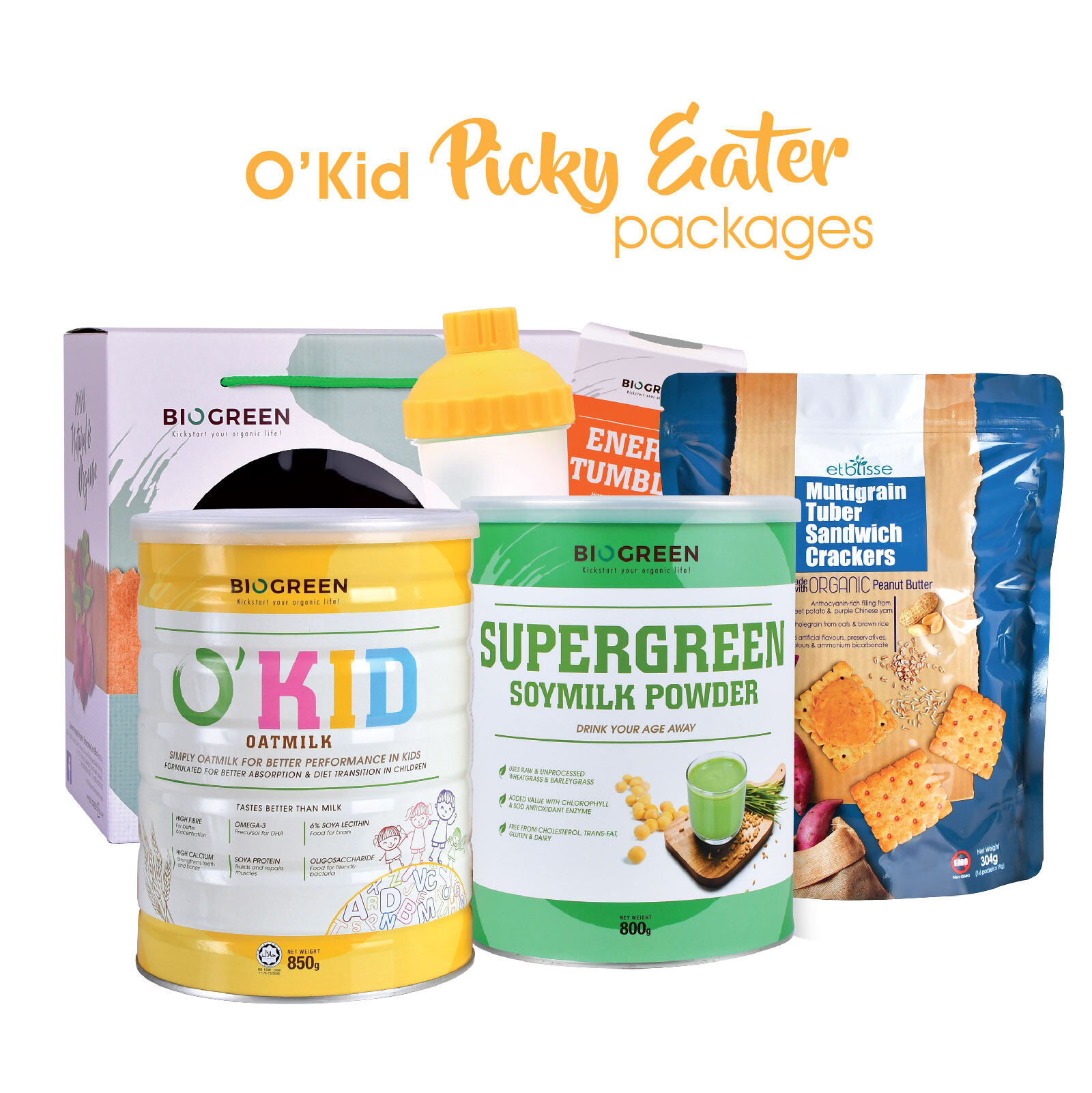 Biogreen O'Kid Picky Eater Package [O'Kid Oatmilk 850g (HALAL) + Supergreen Soymilk 800g + Multigrain Tuber Sandwich Cracker 304g]