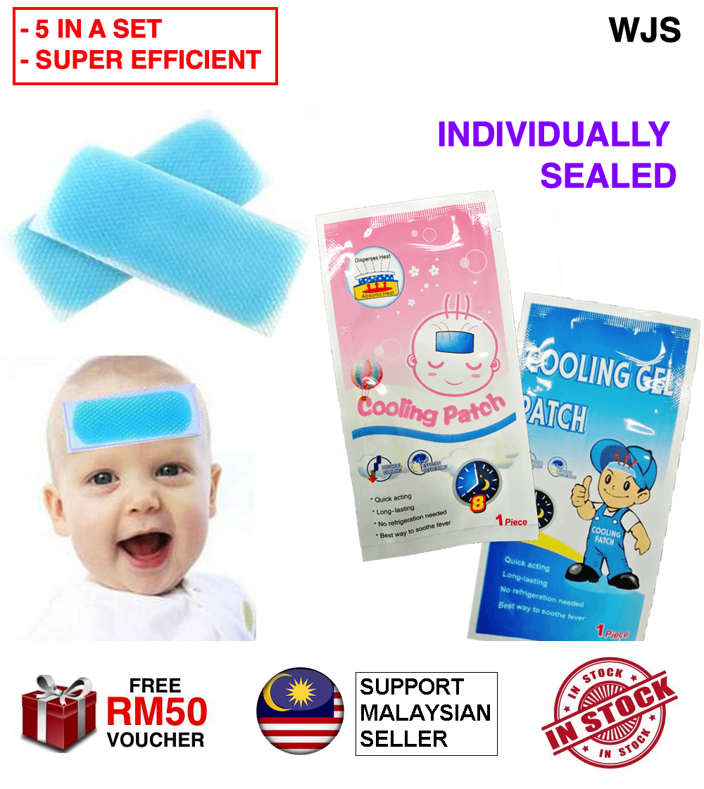 (INDIVIDUALLY SEALED) WJS 5pcs 5 pcs Baby Kids Fever Cooling Patch Headache Gel Pads Fever Patch Fever Reducer Pad Cooling Sticker for Outdoor High Temperature Work