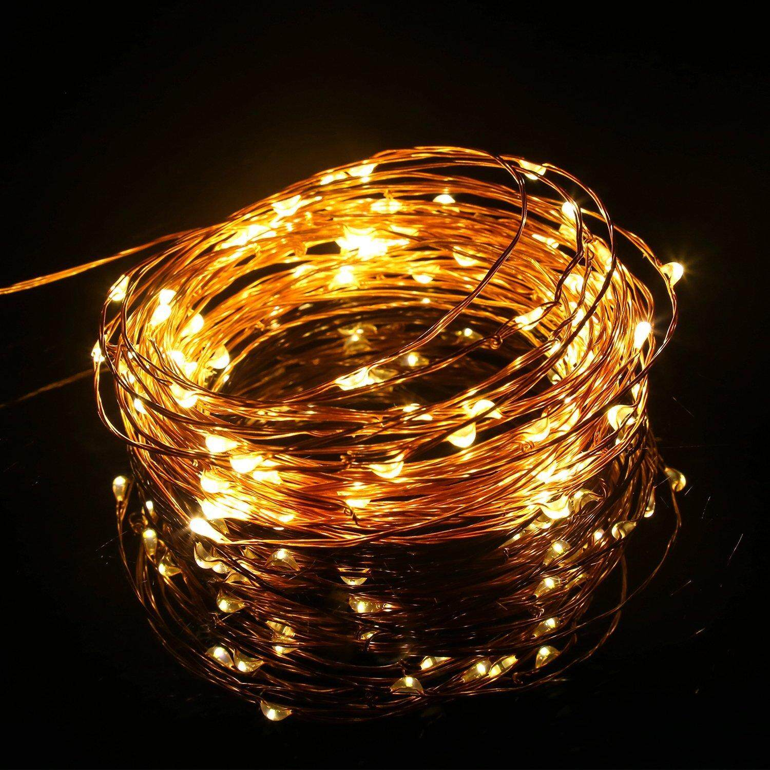 2 Meter 20 Led Battery Operated Silver / Copper Wire Christmas Decoration Fairy Light, Warm White (Starzdeals.my)