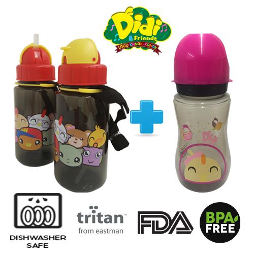 Didi And Friends NEW 350ml Tritan Bottle + 12Oz Nana Milk Bottle