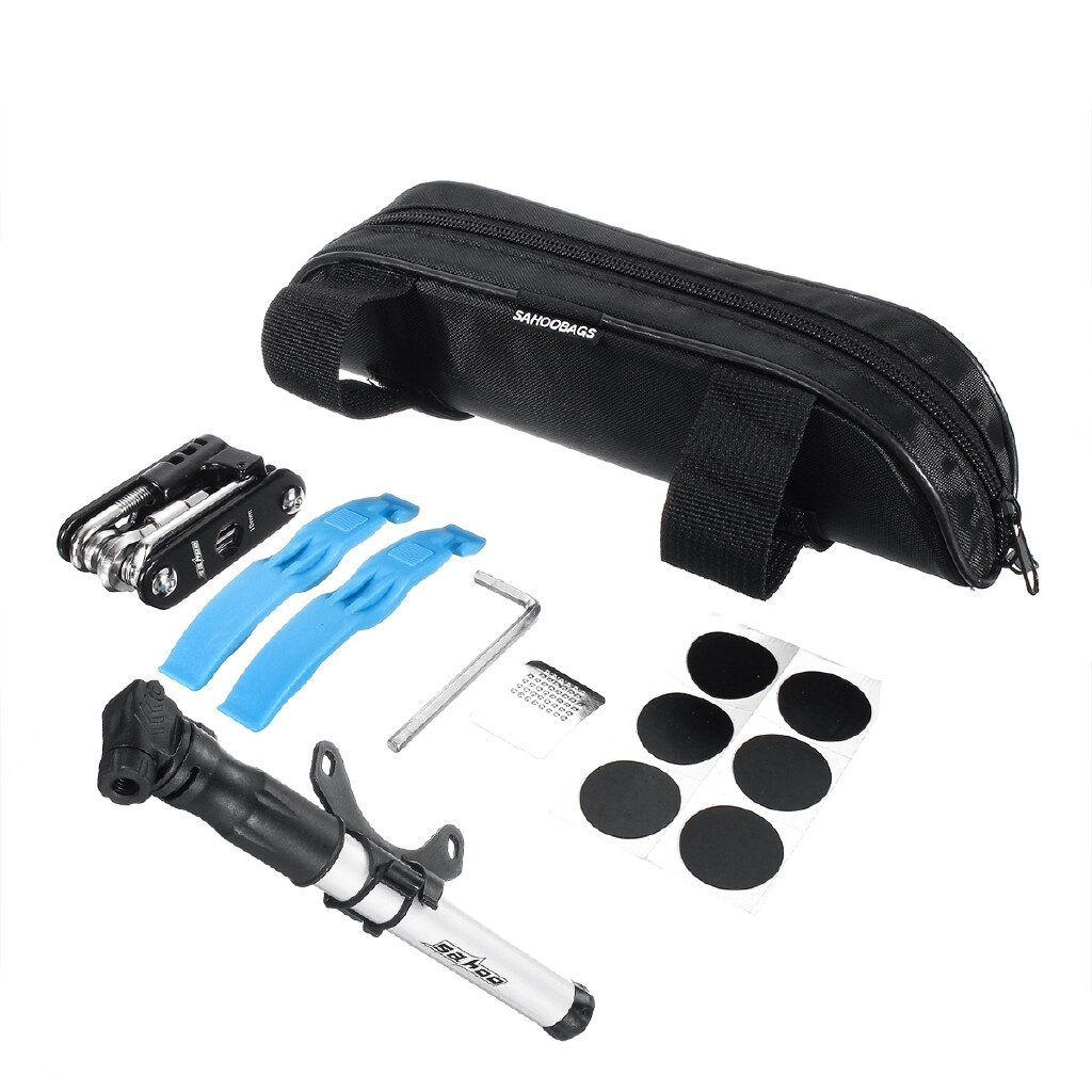 Cycling Apparel - Bike Cycle Bicycle Frame Tool Puncture Repair Kit Inflator Maintenance Tool SET