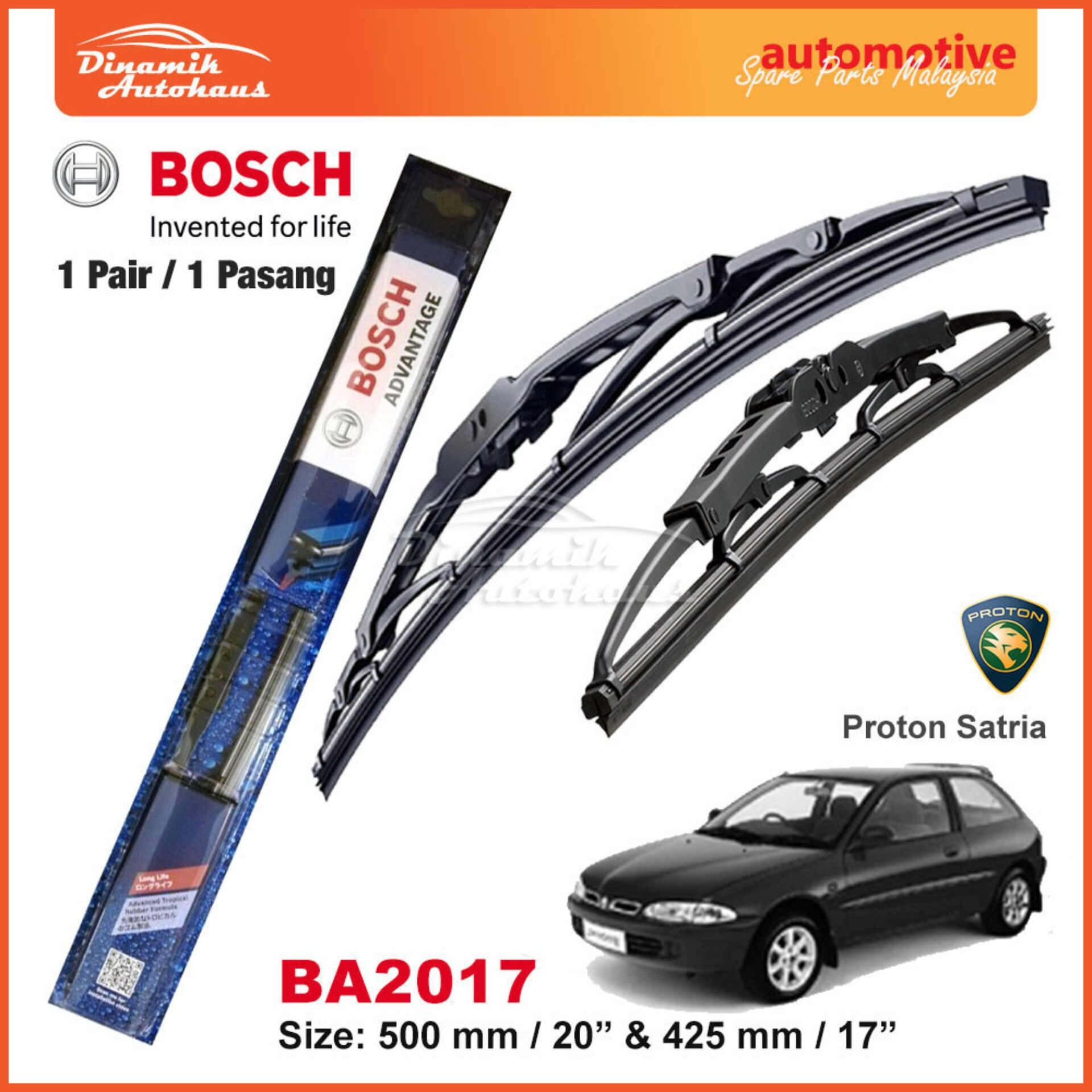 Proton Satria Car Windshield Wiper Blade 20  / 17  Bosch Advantage BA2017