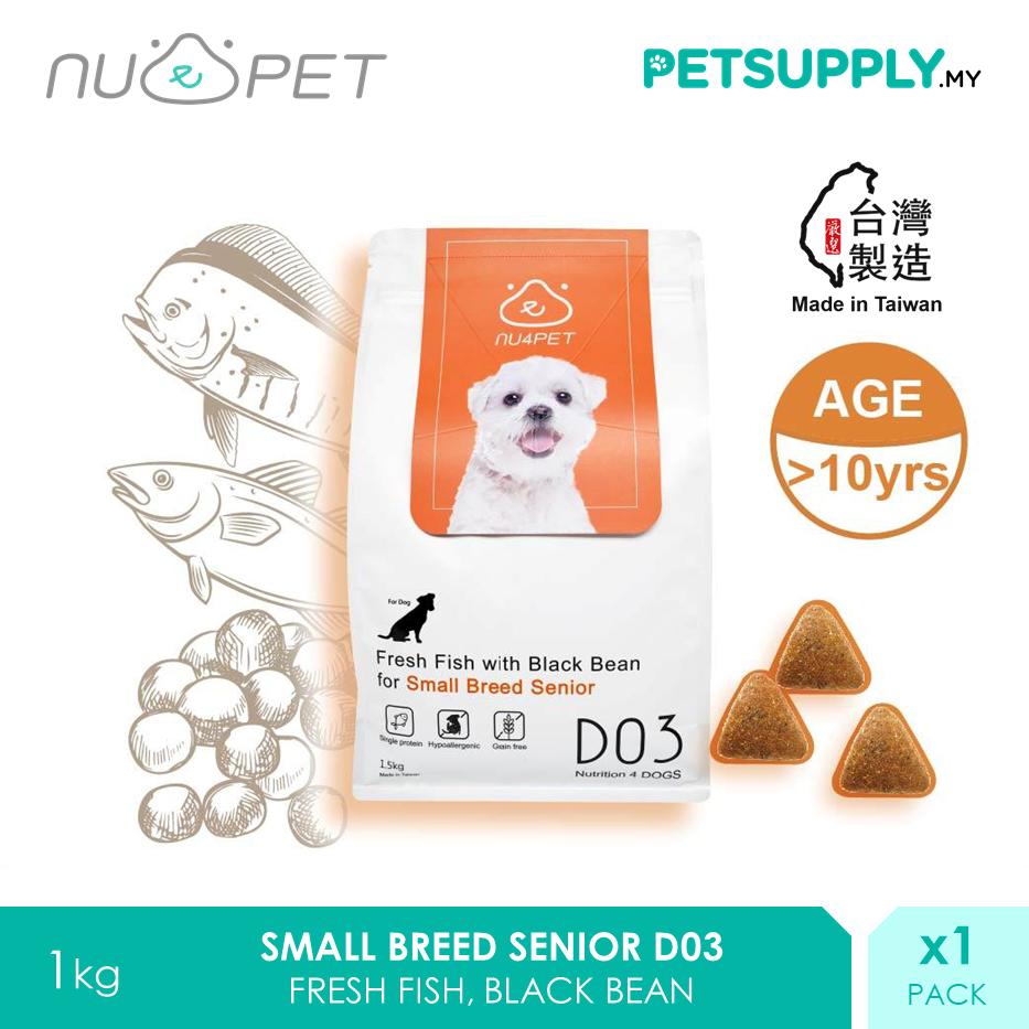 NU4 PET D03 Fresh Fish Black Bean Small Breed Senior Probiotic Dry Dog Food 1.5kg [makanan anjing - Petsupply.my]