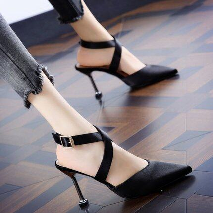 (PRE ORDER) WOMEN CROSS STRAP BUCKLE COLOR MATCHING POINTED STILETTO HEELS