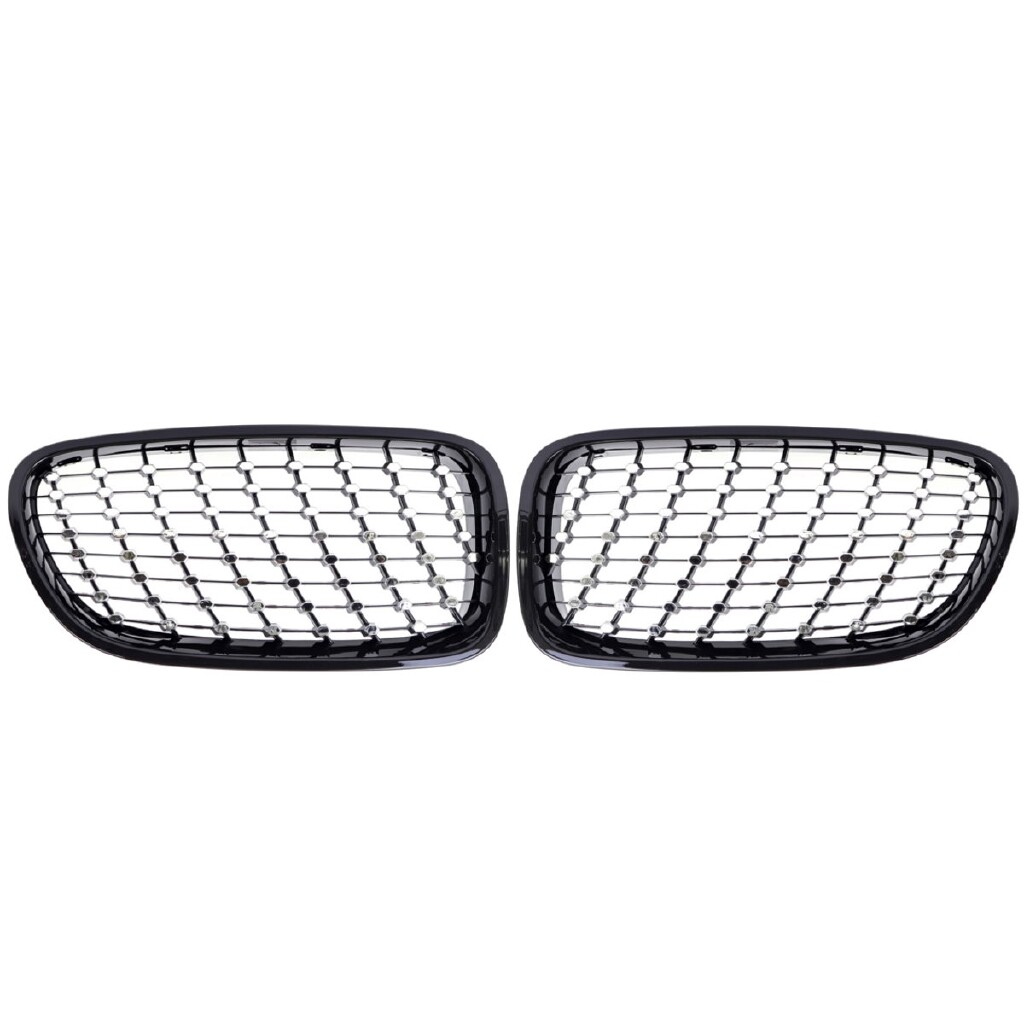 Automotive Tools & Equipment - Front Kidney Grilles Grill For BMW F10 F18 5-Series 2010-17 Black+Chrome Stars - Car Replacement Parts