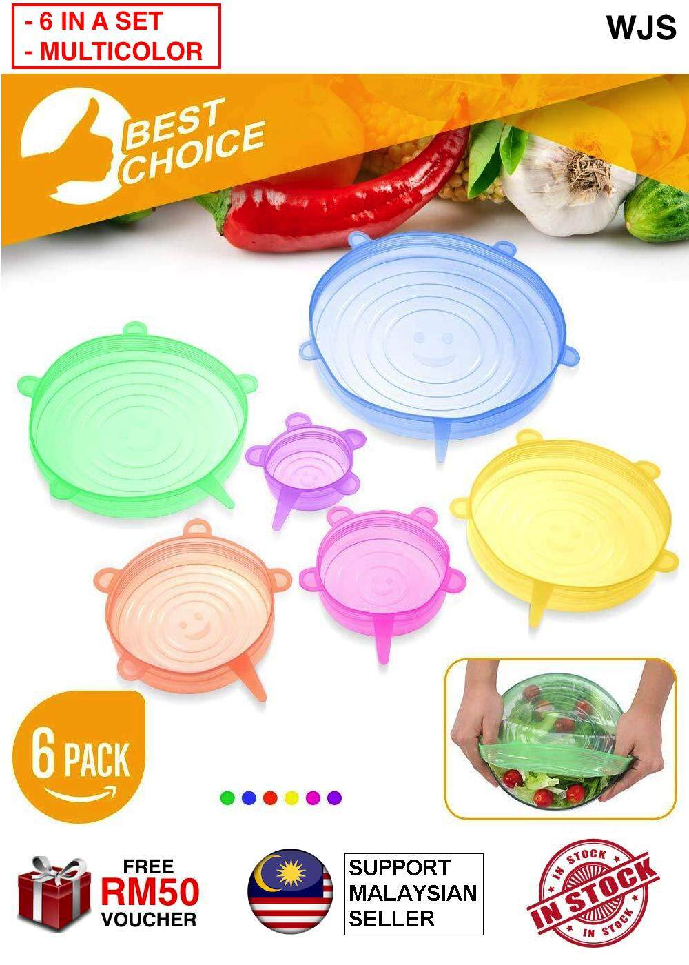 (SEAL SUPER TIGHT) WJS 6pcs 6 pcs 6 in 1 Silicone Food Cover Kitchen Reusable Silicone Stretch Seal Lid Preservation Vacuum Food Storage Bowl Cover Magic Cube MULTICOLOR [FREE RM 50 VOUCHER]