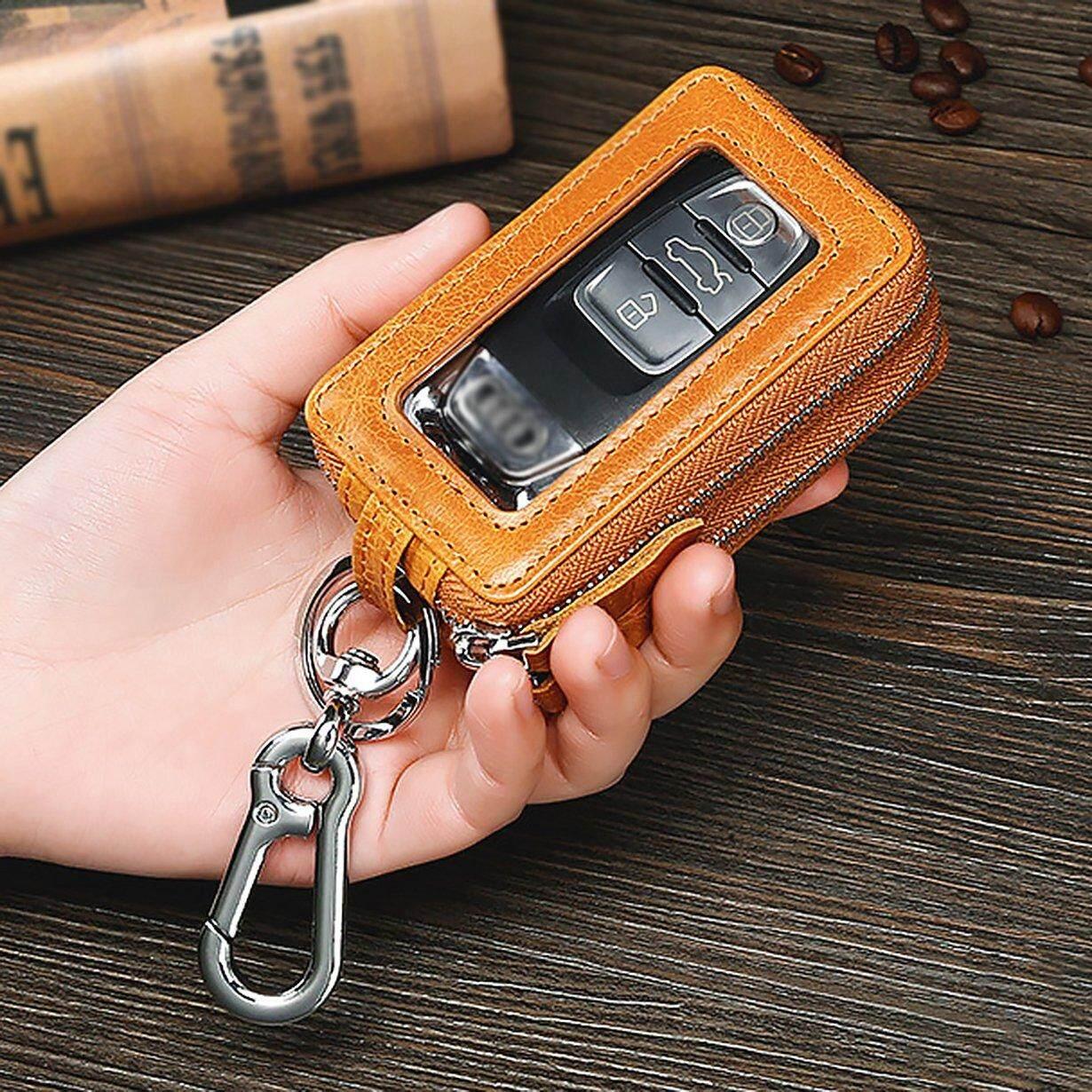 ของแท้ลดราคาสุดๆหนังพวงกุญแจรถแม่บ้านกุญแจซิปคู่กรณีกระเป๋าใส่กุญแจ.