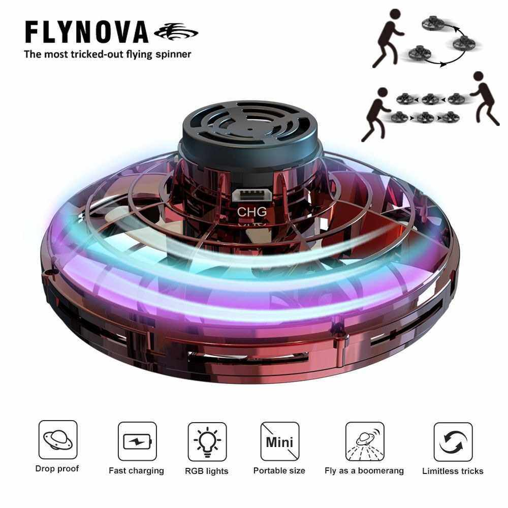 Flynova UFO Fingertip Upgrade Flight Gyro Flying Spinner Decompression Toy For Adult and Kids (Red)