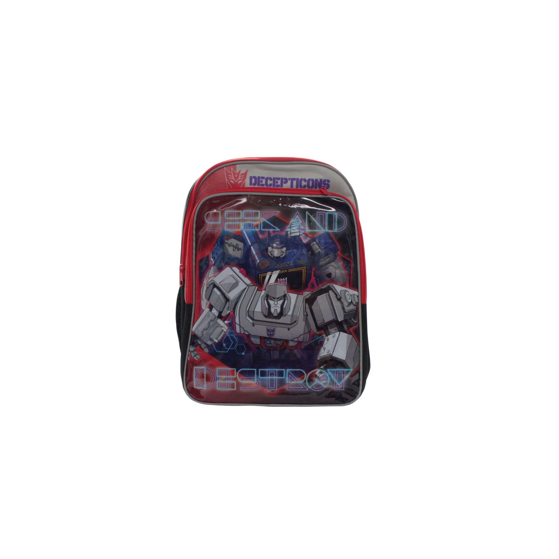 Transformers Decepticons School Bag With Front Zipper Pouch Kid\'s Boys Pre School Bag (Grey & Black) Age 7 Years & Above