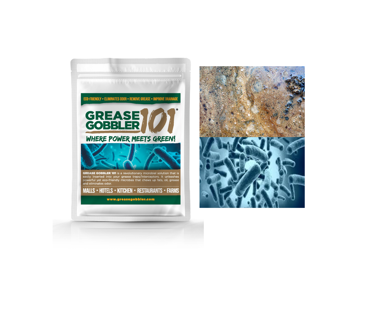 Grease Gobbler 101 Natural Fat, Oil & Grease Remover for Kitchen (removes foul odor)