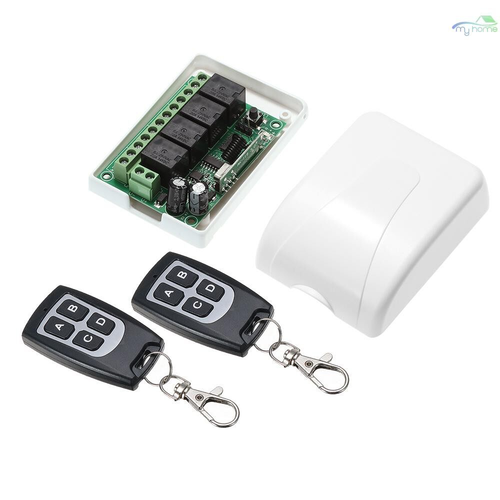 DIY Tools - 433Mhz DC 12V 4CH Universal 10A Relay WIRELESS Remote Control Switch Receiver Module and 2 PIECE(s) 4 Key - GREEN-2