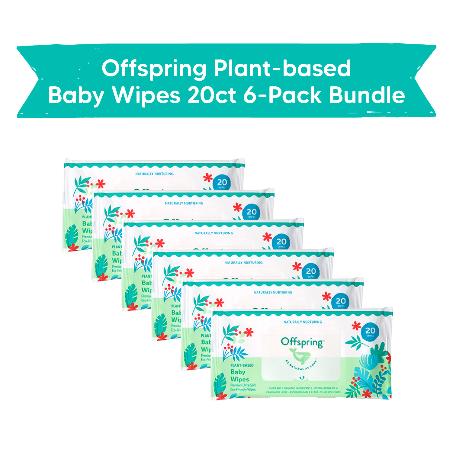 Offspring Plant-based Baby Wipes 20ct 6-Pack Bundle