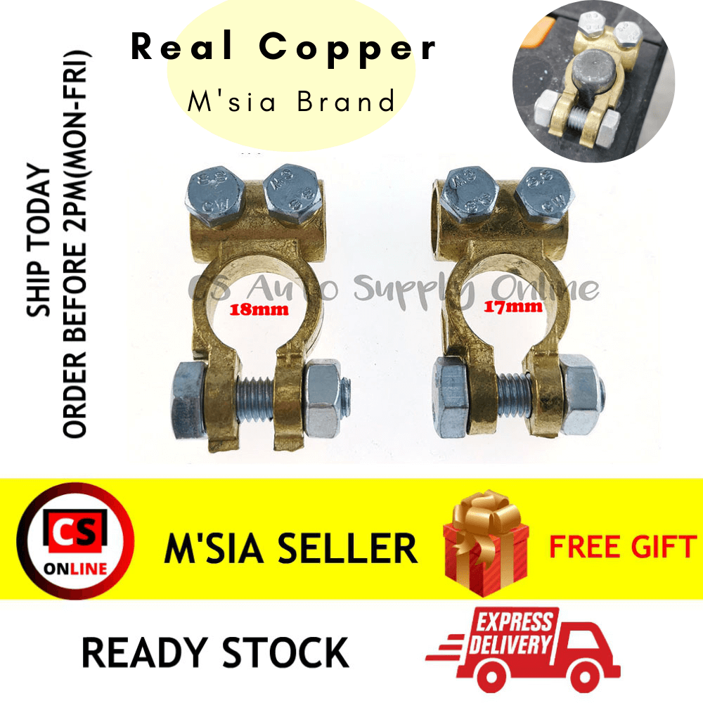 [cs auto] 2pcs x Battery Terminal Clamp Clip Brass 005 Car Lorry Truck 17mm 18mm Positive Negative Universal (Real COPPER ) Malaysia brand