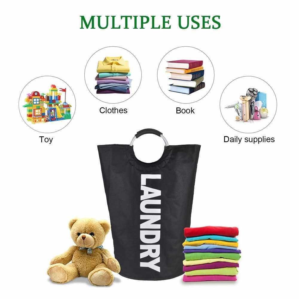 Collapsable Laundry Bag Foldable Laundry Hamper Durable Oxford Fabric Laundry Basket Clothes Sorter Portable Multifunction Storage Bag with Alloy Handle (Black)