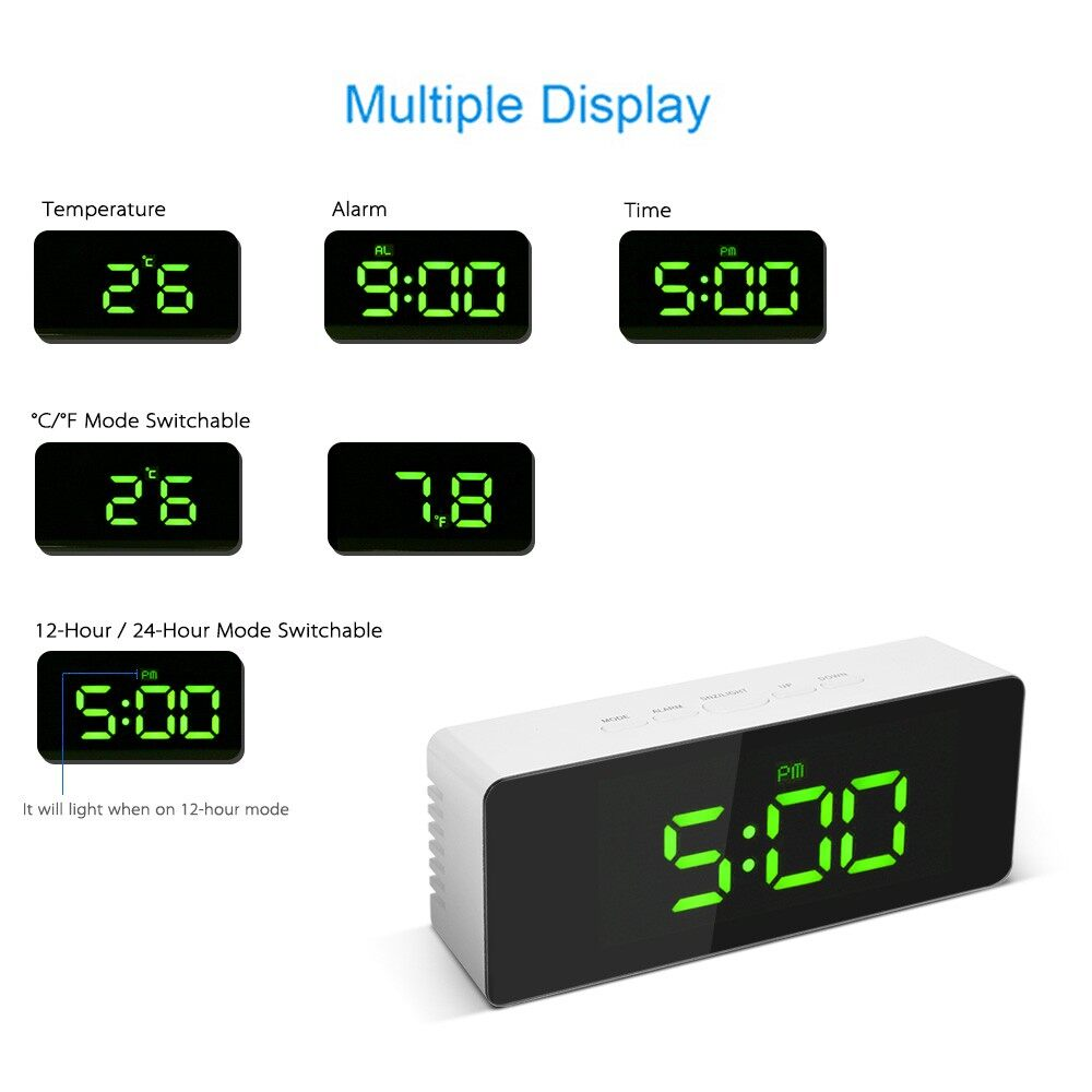 Clocks - Digital LED Mirror Clock USB & Battery Operated 12H/24H C/ F Display Alarm Cloc - RED / GREEN / BLUE