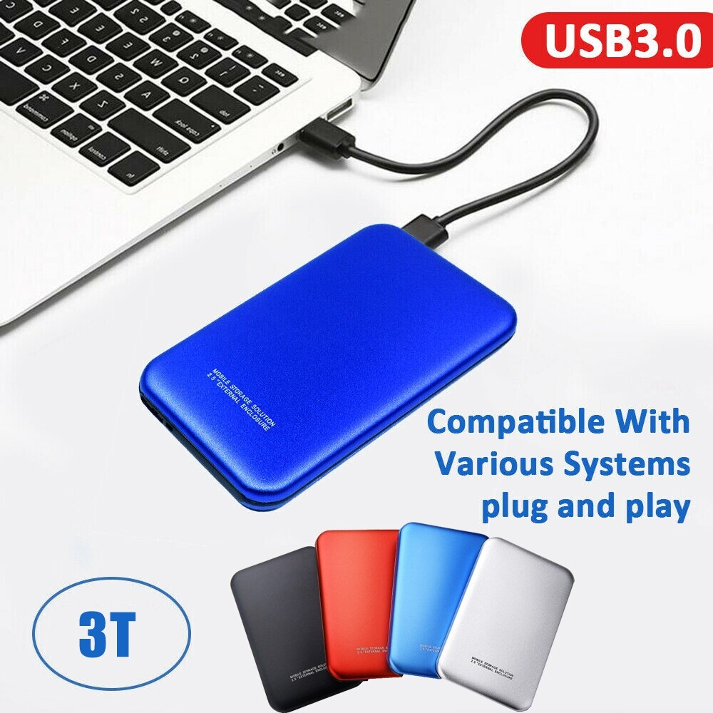 External Hard Drives - 2.5 Inch 3TB HDD SSD Case Sata to USB 3.0 Hard Drive Box Enclosure Adapter 5Gbps - BLUE / BLACK / RED / GREEN / SILVER