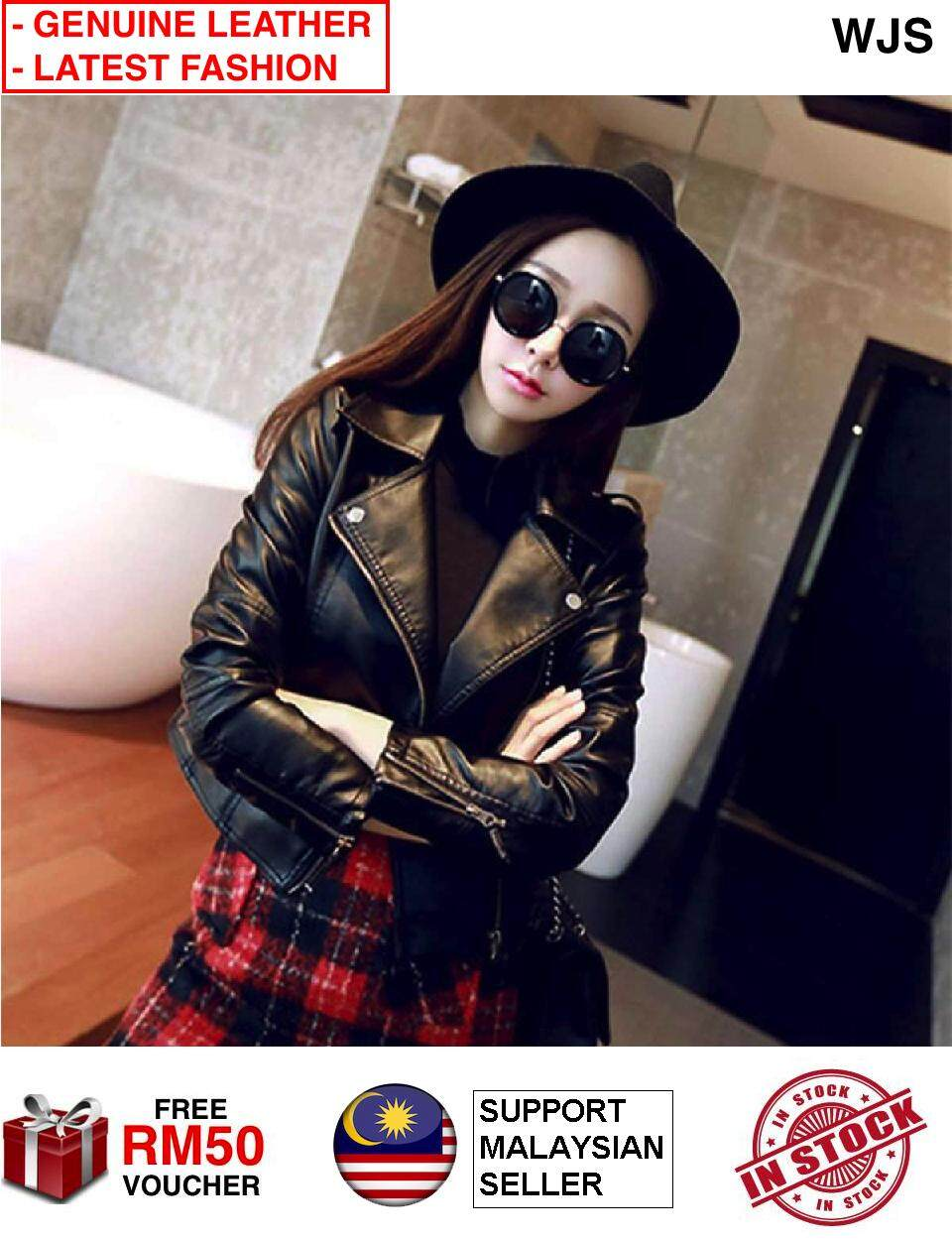 (GENUINE HIGH QUALITY LEATHER) WJS Women Latest Korean Style Slim Fit Woman Leather Jacket Slimfit Leather Jacket Slimfit Jacket Women Jacket Women Coat Women Leather Coat Motorcycle Jacket Winter Jacket Winter Coat BLACK (FREE RM 50 VOUCHER)