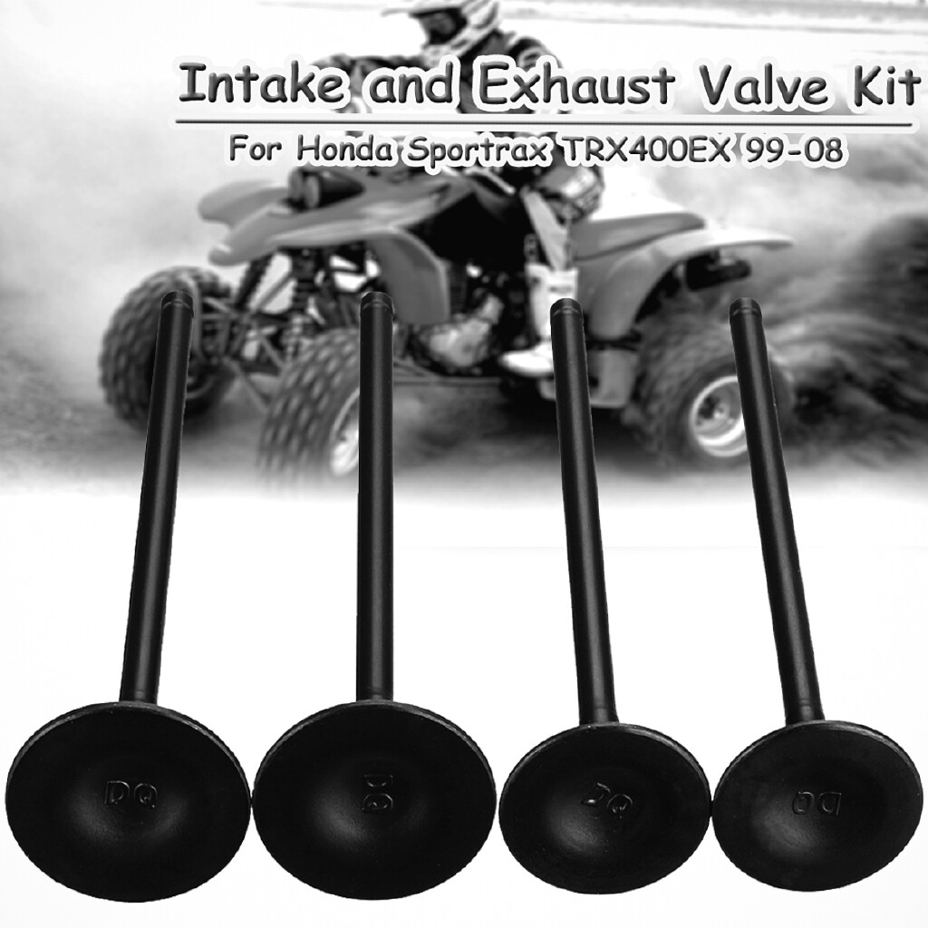 Exhaust - 4pc Cylinder Head Intake Exhaust Valve Kit For Honda Sportrax TRX400EX 1999-2008 - Car Replacement Parts