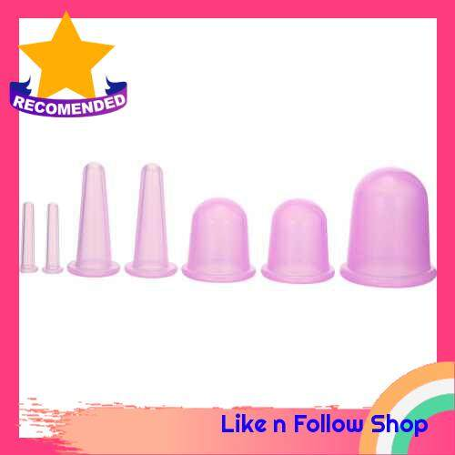 7pcs 4 sizes Silicone Massage Cup Facial Cupping Cup Vacuum Cupping Body Pain Relief Face Eye Care Treatment Manual Suction Cups (Purple)