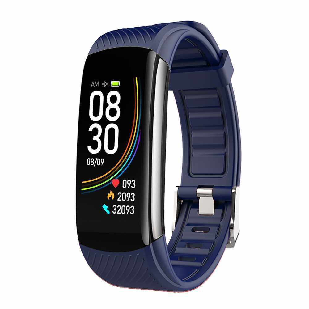 C6T Body Temperature Bracelet Watch Smart Sports Bracelet IP67 Information Push Sleep Exercise Step Waterproof Sports Smart Bracelet Blood Pressure Monitoring (Blue)