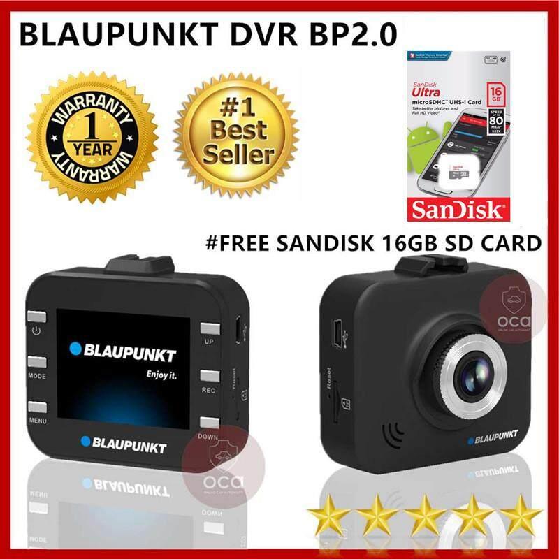 Blaupunkt DVR BP2.0 Car Cam Dash Cam Recorder + SanDisk Ultra 16GB 80MB/s C10 microSDHC UHS-I Memory Card