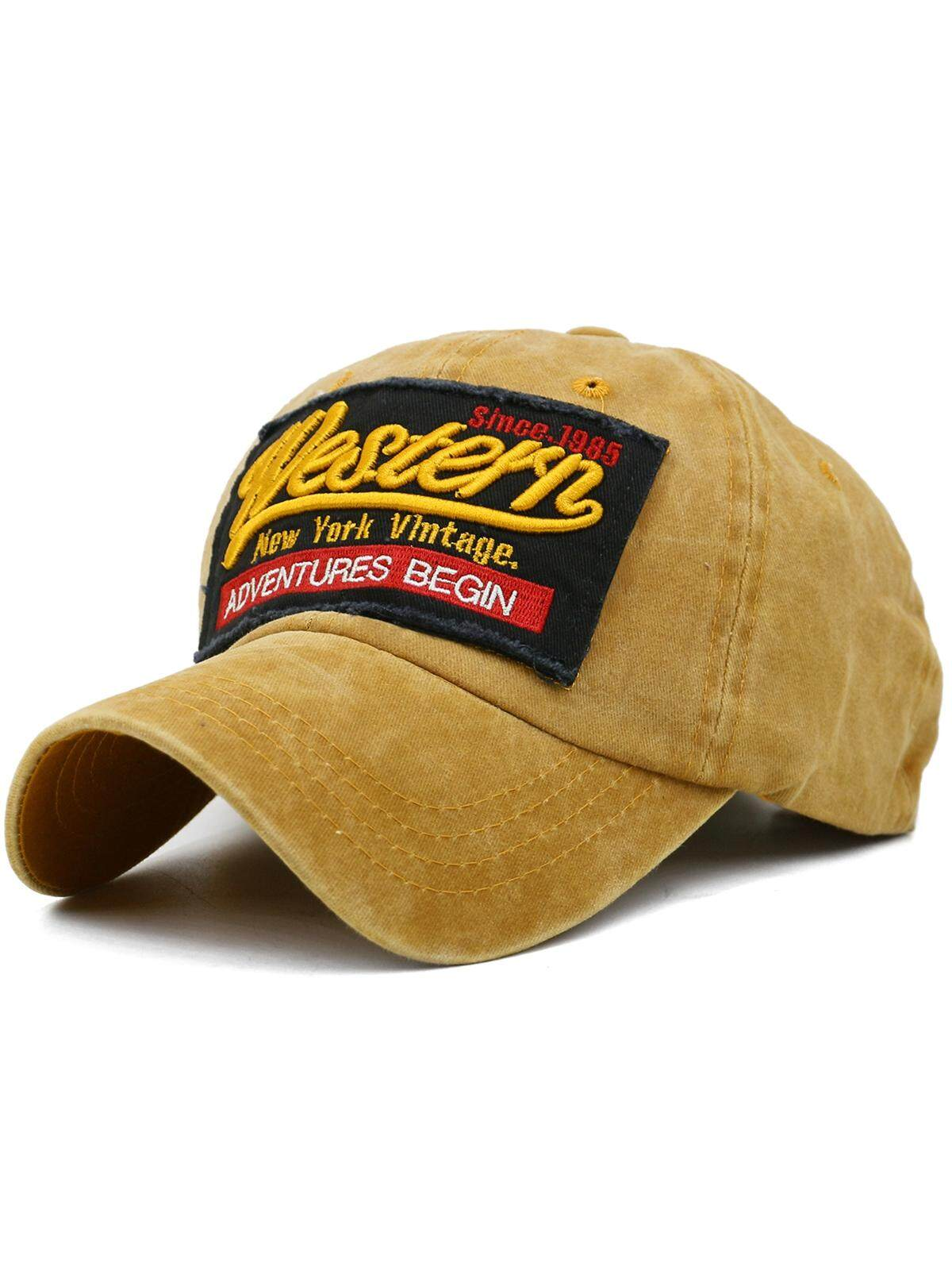 ADVENTURES BEGIN Embroidery Washed Dyed Baseball Cap (Color:MACARONI AND CHEESE)
