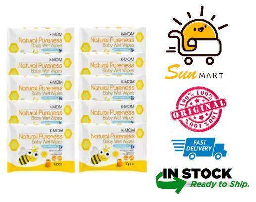 K-Mom Natural Pureness Baby Wet Wipes 10pcs Combo x 12