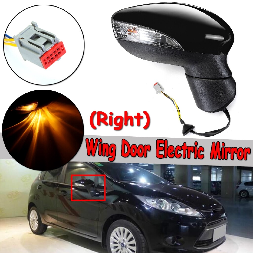 Automotive Tools & Equipment - For Ford Fiesta Mk7 2008-2012 Electric Wing Door Mirror RH Right Painted Black - Car Replacement Parts
