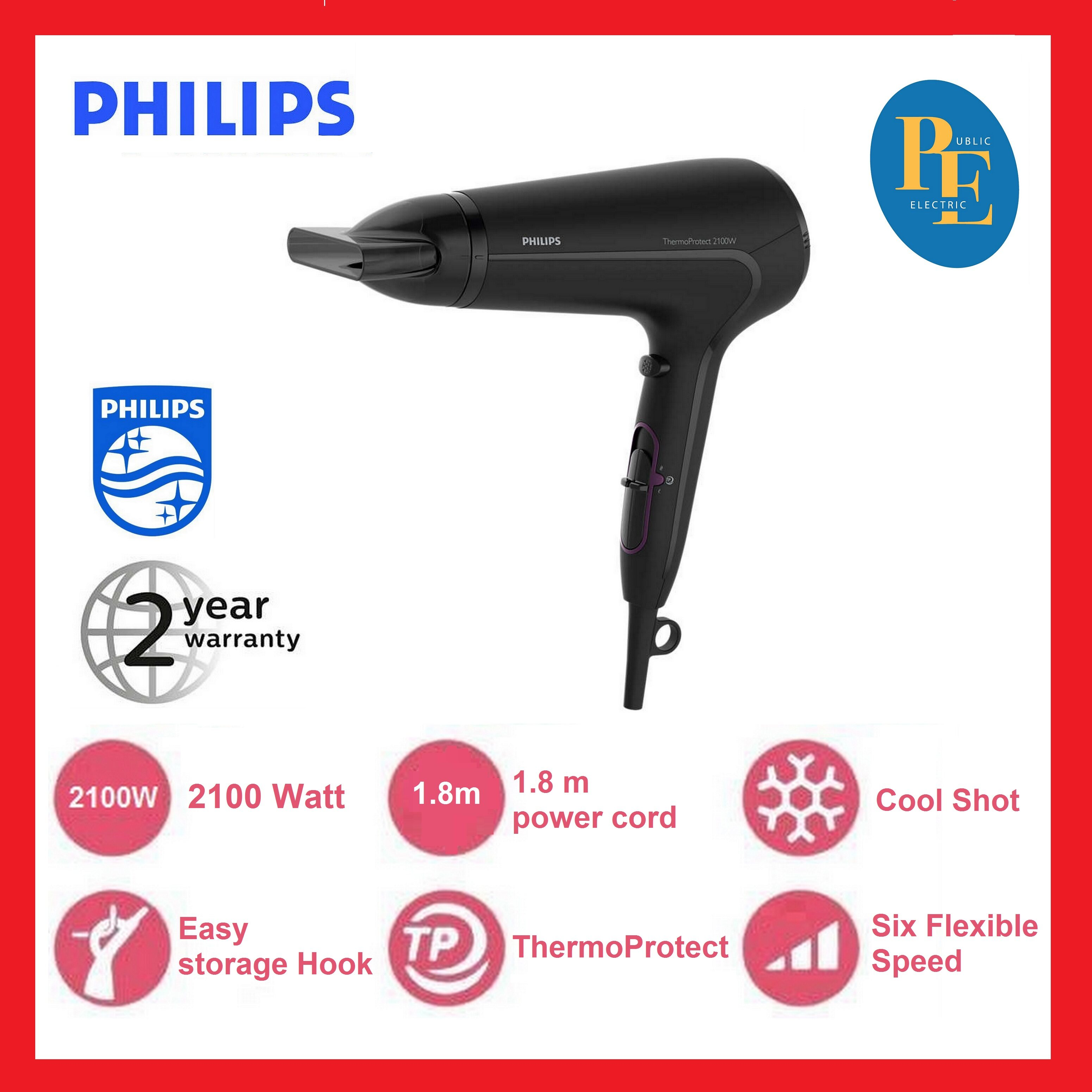 Philips ThermoProtect Hair Dryer With 14mm Styling Nozzle - HP8230