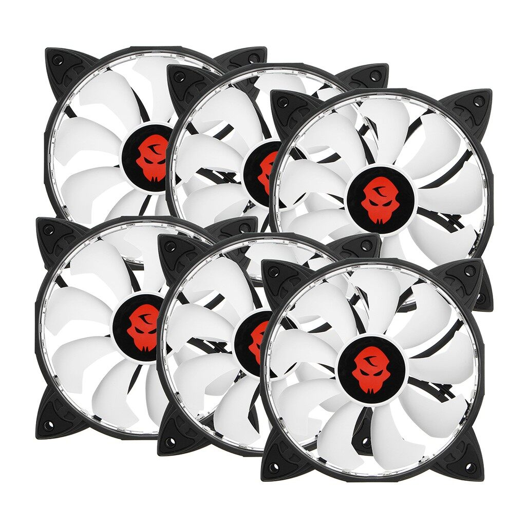USB Fan - 6 PIECE(s) RGB Adjustable LED Cooling Fan 120mm + Controller Remote For Computer PC - Cool Gadgets