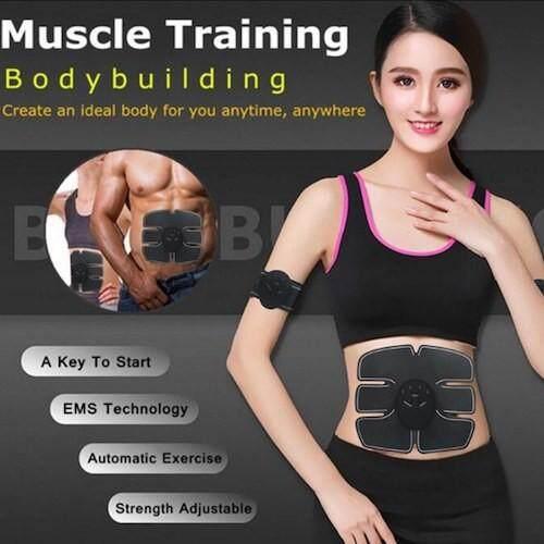 Electric Muscle Training Stimulator Abdominal Stimulation Muscle Exerciser Training Body Slimming Machine Fat Burning Fitness Massage
