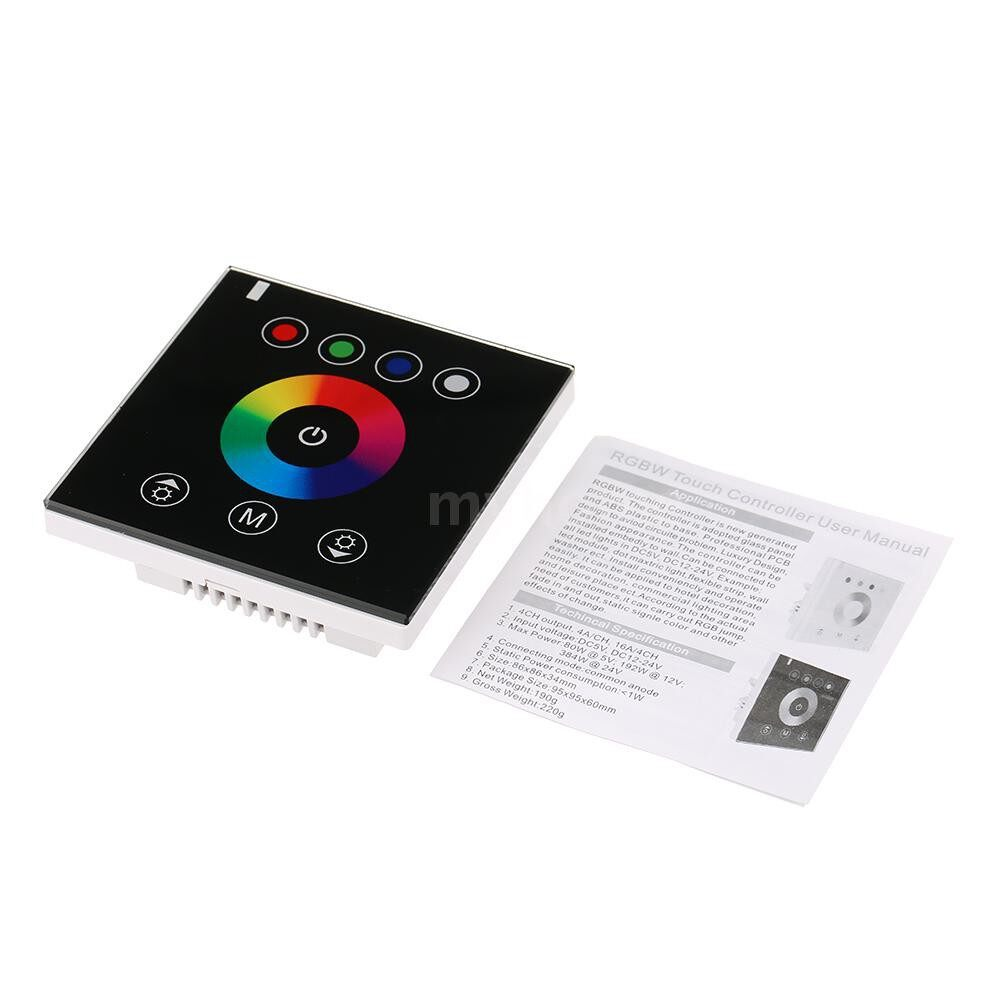 Lighting - LED Glass Touch Panel RGBW Dimmer Controller Wall Mounted Color Adjuster DC12V-24V for Hotel Home - BLACK-RGBW