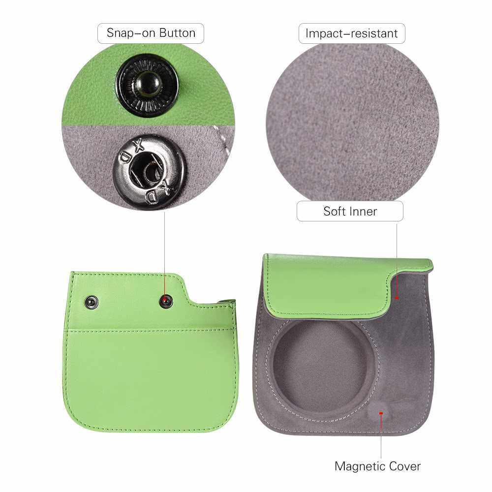 Andoer PU Instant Camera Case Bag with Strap for Fujifilm Instax Mini 9/8/8+/8s Smokey White (Green)