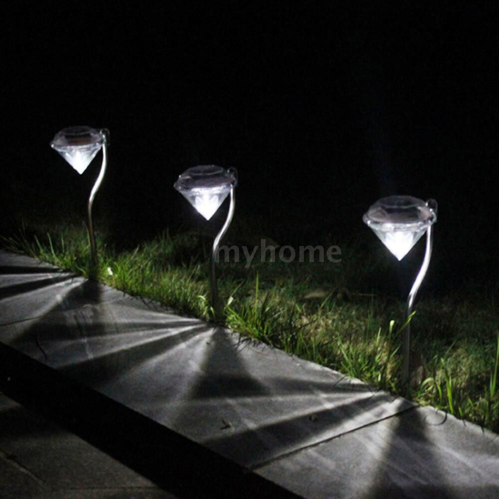 Outdoor Lighting - 4 PIECE(s) Outdoor LED Path Lamp Diamond Lights Solar Power Night Lights Flower Lamp Home Garden Fence - MULTICOLOR / WARM WHITE / WHITE