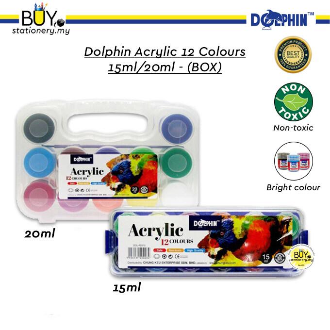 Dolphin Acrylic 12 Colours 15ml/20ml - (BOX)