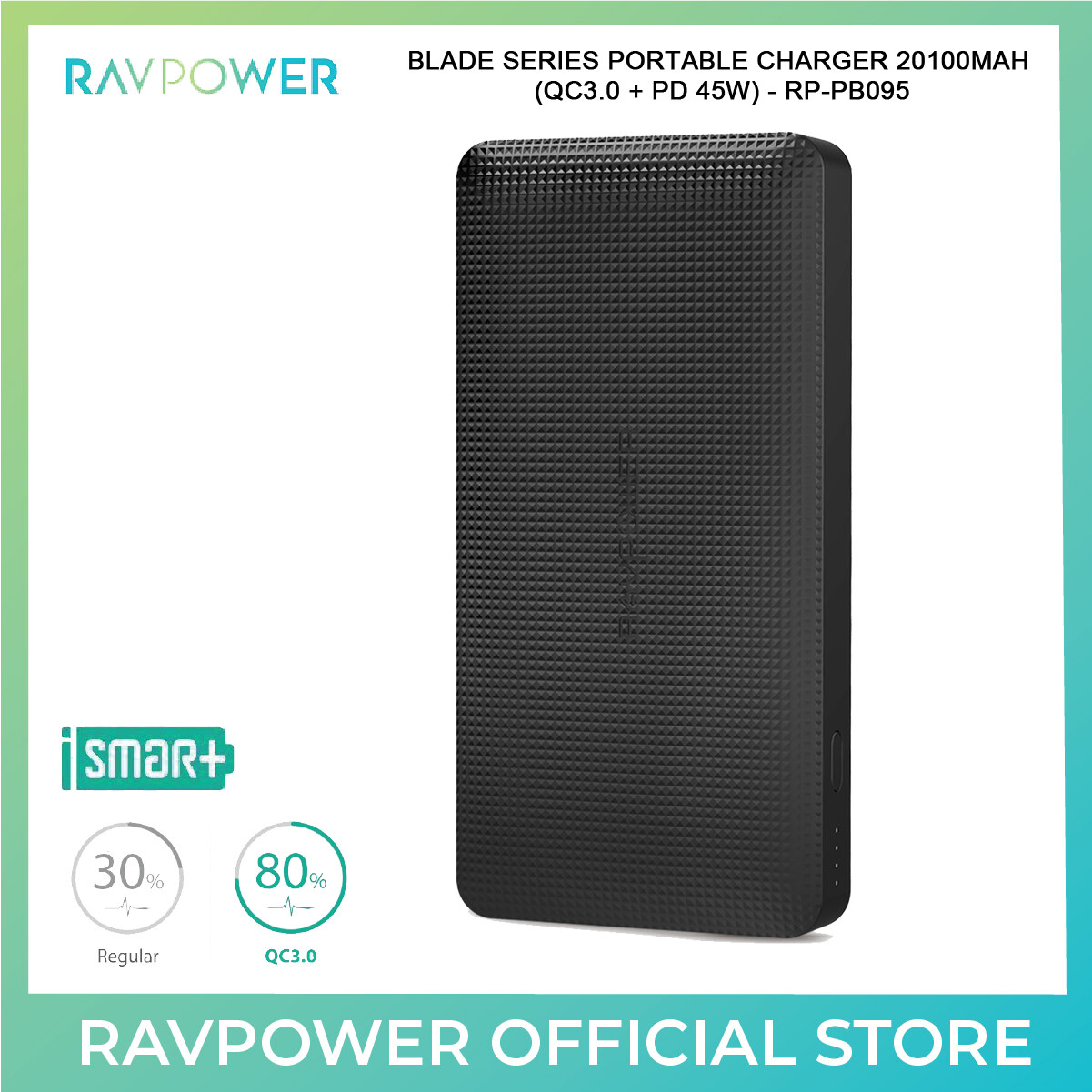 RAVPower Blade Series Portable Charger (QC3.0 + PD 45W) - 20100mAh (RP-PB095)