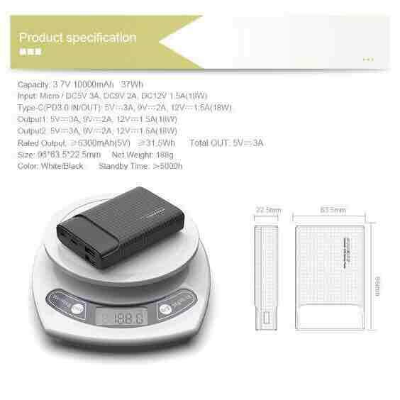 [Free 2 Remax Fast Charging Cable] PINENG PN-986 10000mAh Dual Output 18W PD Fast Charge Li-ion Polymer Power Bank