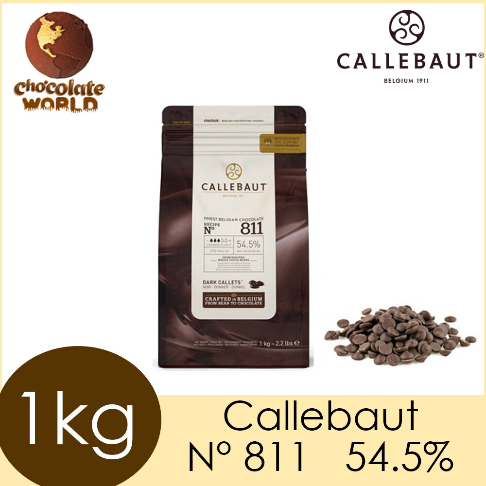 Genuine Callebaut Finest Dark Belgian Chocolate N°811 (54.5%) Dark Callets 1kg (Made in Belgium)