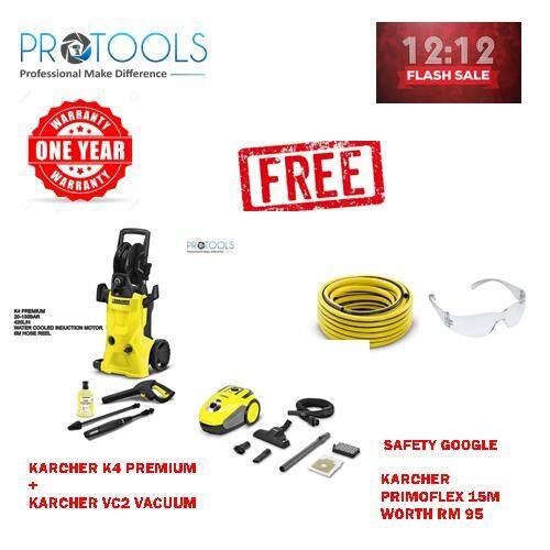 KARCHER HIGH PRESSURE WASHER K 4 PREMIUM + KARCHER VC2 VACUUM + 15M PRIMOHOSE + 1 SAFETY GOOGLE