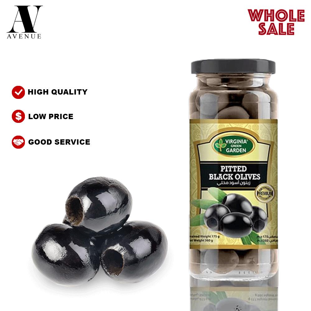Virginia Green Garden Pitted Black Olives 340 g زيتون أسود مخلي