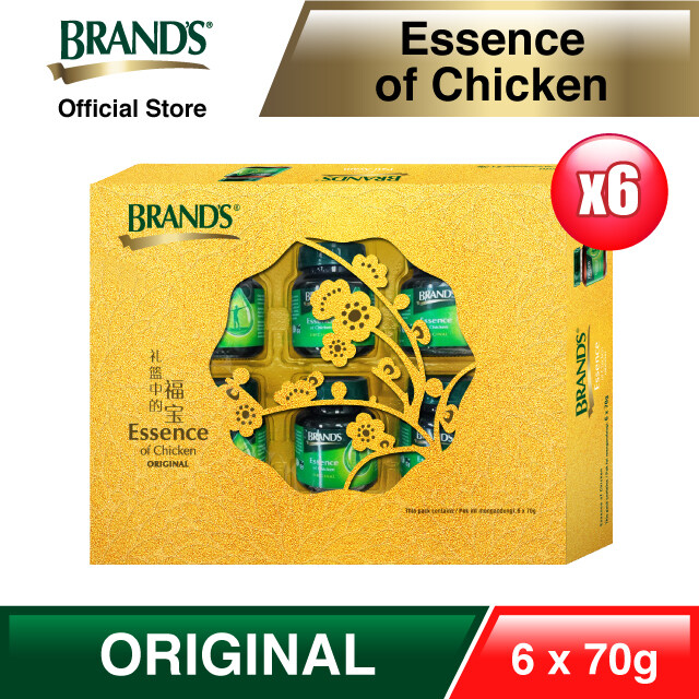 BRAND'S Essence of Chicken Gold Pack (6's x 70g x 6 Packs) [Free RM 20 Popular Bookstore Voucher]