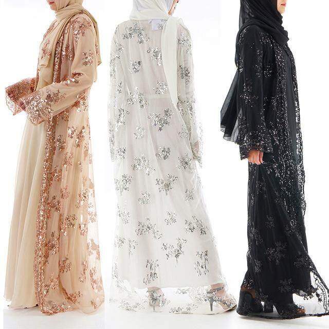 (PRE ORDER) MUSLIM KAFTAN CARDIGAN EMBROIDERY PRINT LONG DRESS