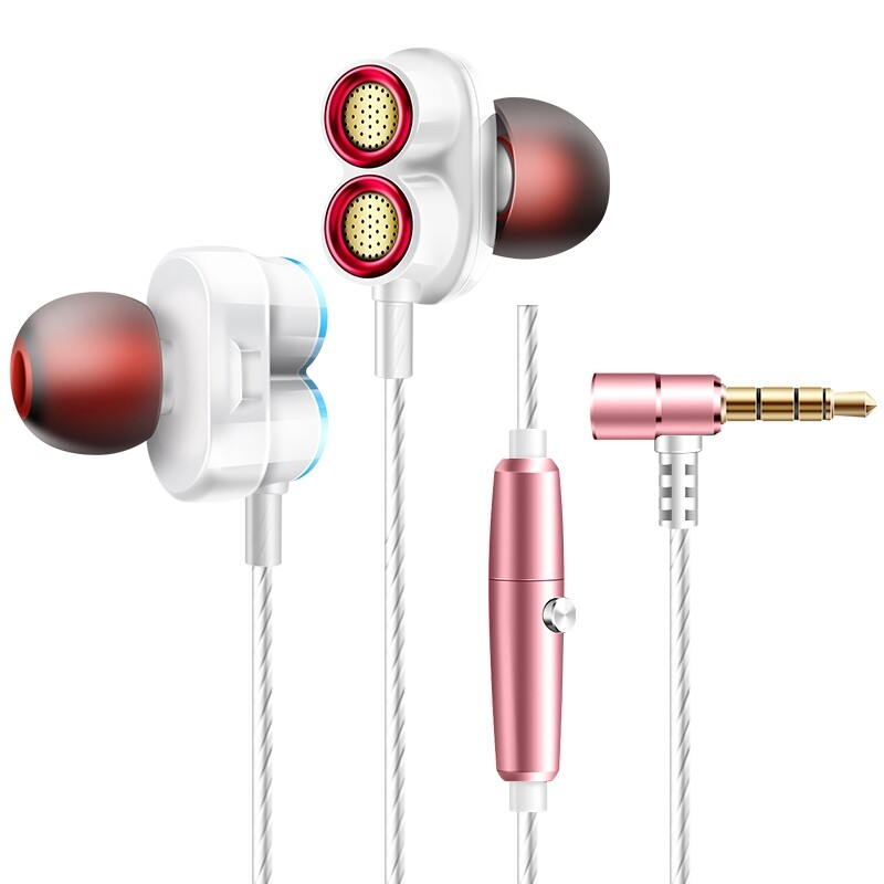 On-Ear Headphones - KDK-503 Universal Wired Earphone Dual Dynamic Drivers Stereo Super Bass Head SET with Mic - ROSE GOLD / GREY / GOLD