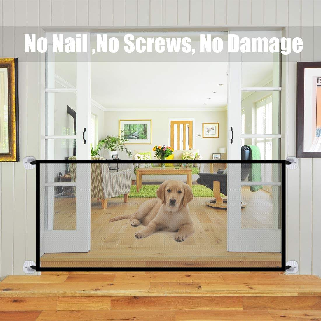 Mesh Pet Gate Magic Gate For Dogs Magic Gate Pet Gate For Dogs Doors Pet Barrier Baby Safety Fence Portable Dog Safe Guard Enclosure For House Indoor Stair Doorway - Konki - SHP