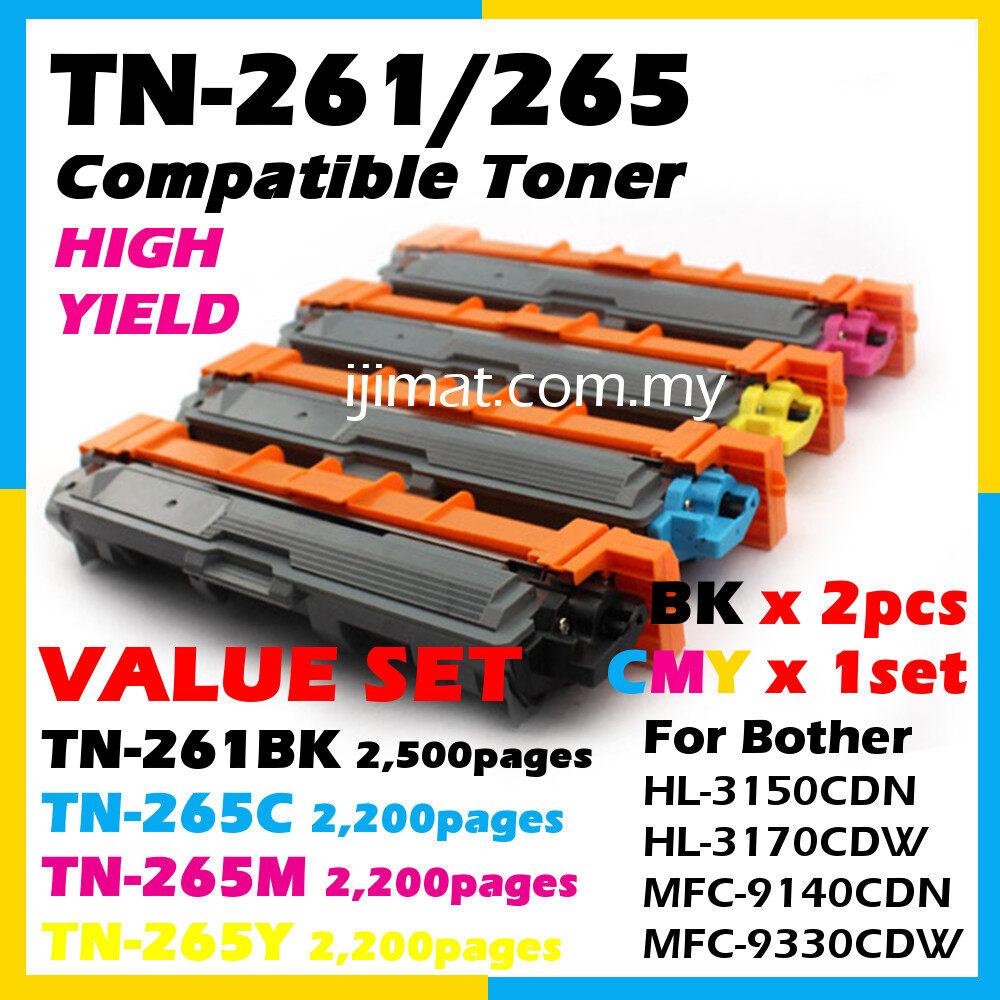 Value Set Compatible Colour Laser Toner Cartridge TN261 / TN265 TN261 Black x 2units + TN265 Cyan + TN265 Magenta + TN265 Yellow For Brother DCP-9020cdw MFC-9130cw MFC-9140cdn MFC-9330cdw MFC-9340cdw HL3140cw HL3150cdn HL3150cdw Printer
