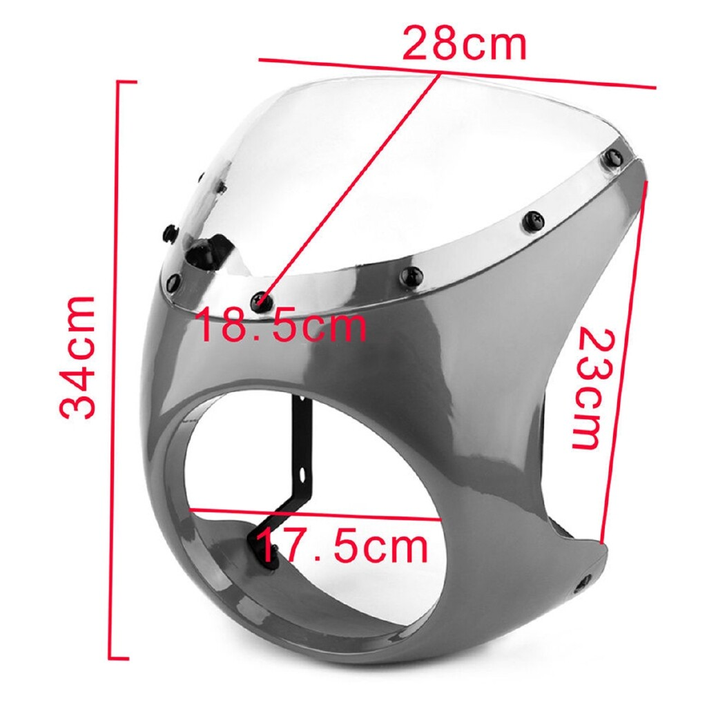 Moto Accessories - Motorcycle Retro Cafe Racer Handlebar Fairing Headlight Windshield Mounting ABS - HAIR COLOR / CREAMY-WHITE / BRIGHT RED / MATTE BLACK / BRIGHT BLACK